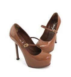 YSL Dark Nude Patent Leather High Heel Platform Mary Jane Pump Shoe 36 5 US 6 5 | eBay #ysl #tribtoo