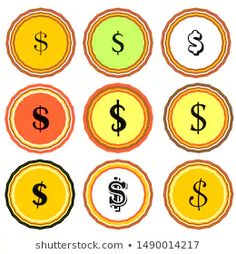 set of isolated vector dollar ($) signs on flat background. vector coins. coins icon. coins sign Coin Icon, Flat Background, Dollar Sign, Flat Icons, Coins, Rooms