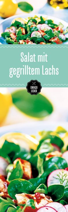 Wie im Foodie-Himmel: Feldsalat und gegrillter Lachs, getoppt mit Radieschen, Knoblauch und Olivenöl - ein Traum.