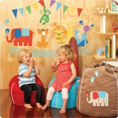 Circus removable wall stickers Cocoon Couture with 2 cute little kids in front…