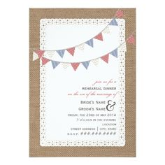 Burlap Inspired Patterned Bunting Rehearsal Dinner Card