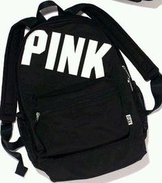 Victoria& Secret PINK Campus Backpack Bookbag Travel Black w/ White Logo Animal Print Backpacks, Cute Backpacks, School Backpacks, Sports Backpacks, Leather Backpacks, Leather Bags, Rucksack Bag, Backpack Purse, Black Backpack
