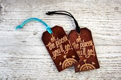 Oh The Places Youll Go Luggage Tag Compass Leather by Exsect