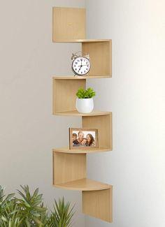 Corner Shelf Design, Wall Mounted Corner Shelves, Wall Shelves Design, Cool Shelves, Unique Shelves, Bookshelf Design, Diy Corner Shelf, Corner Shelving, Small Shelves