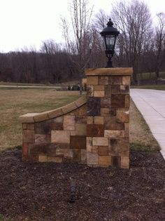 - Another! Brick Columns Driveway, Rock Driveway, Driveway Entrance Landscaping, Driveway Posts, Circle Driveway, Driveway Ideas, Driveway Gate, Driveway Lighting, Entrance Lighting