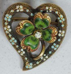 Victorian Gold Enamel 4 Leaf Clover w Diamond Pin Brooch Pendant Victorian Jewelry, Antique Jewelry, Vintage Jewelry, Irish Jewelry, Victorian Gold, Victorian Era, Bling Bling, Celtic Art, Irish Celtic
