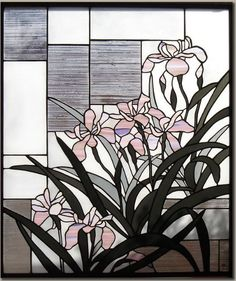 Japanese style stained glass panel  Himeshaga Iris - Glass Studio Tappu