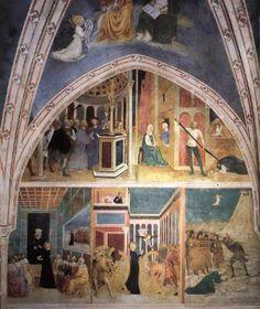 Scenes from the Catherine Legend (left wall) - Masolino.  1425-31.  Fresco.  Castiglione Chapel, San Clemente, Rome, Italy.