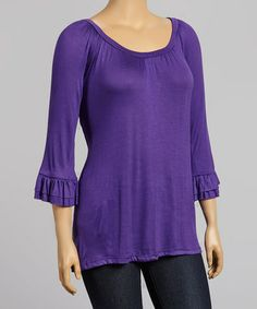 Love this Purple Ruched Peasant Top - Plus on #zulily! #zulilyfinds