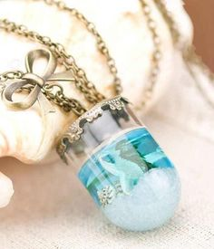 Sea Life inspired Mermaid Tears Necklace. 1 1/2 x 3/4 inches length 22 inches