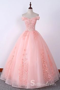 Blush Pink Long Prom Dresses Ball Gown Off-the-shoulder Lace Formal Ev – selinadress
