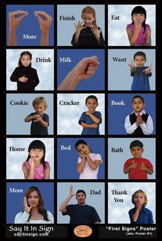 First Signs Poster – ASL Lenticular Poster This is an ASL (American Sign Language) poster made with lenticular graphics. When you walk pass the poster or look at it and lean left to right the images chan Sign Language Phrases, Sign Language Alphabet, Sign Language Interpreter, Learn Sign Language, Baby Sign Language Chart, Sign Language Basics, British Sign Language, First Language, Body Language