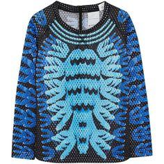 Adidas Originals + Mary Katrantzou Monster Marathon mesh sweatshirt ($125) ❤ liked on Polyvore featuring tops, hoodies, sweatshirts, sweaters, blue, blue sweatshirt, relaxed fit tops, zipper top, zipper sweatshirt and adidas originals