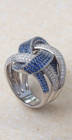 Statement Ring | Sterling Silver | Blue & White Cubic Zirconia | Contemporary Design