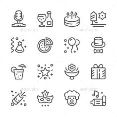 Set Line Icons of Party by moto-rama Set Line Icons of Party Isolated on White �20Available RGB color �20Good choice for use in infographic and interface Attached ZIP