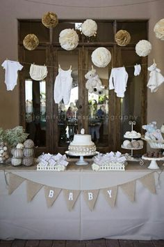 White beige brown colors | boy girl Baby shower | Cake Table | Baby Clothes | paper flower