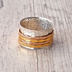 Spinner Ring Sterling Silver Hammered Wide Band by SunSanJewelry