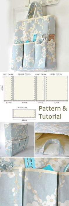 Craft Organizer Bag Sewing Tutorial. How-to step by step http://www.free-tutorial.net/2017/09/organizer-bag-sewing-tutorial.html