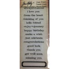 "Tim Holtz Visual Artistry ""JUST SAYINGS"" Clear Stamp Set CSS31727"