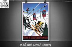 Station de ski des Alpes françaises - 1979, original art print, french vintage poster, ski poster, ski decor, ski art print, ski art, travel