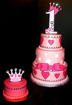 Princess Birthday Cake and Smash Cake.  For more pics of our work or pricing info, visit our website: www.simplysweetonline.com