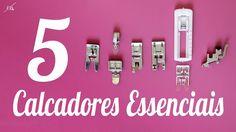 1, 2, 11, 28 e caseador de botão -  Calcadores: uso geral (ou zigue-zag), ziper comum, bainha de lenço e chuleio