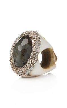 Shop Mesi Jilly Labradorite Tiger Cowrie Ring at Moda Operandi