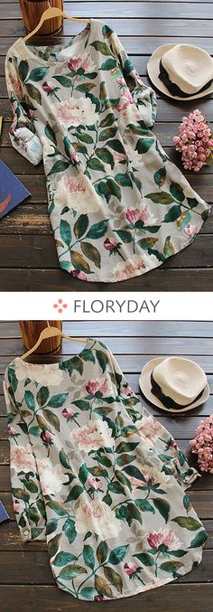 Floral Cotton Round Neckline Long Sleeve Blouses, floral blouse, flower, fashion blouse, fashion 2018