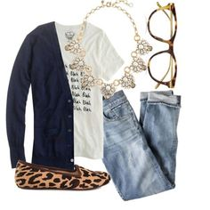 jeans, leopard flats, tee, cardi, necklace, glasses.