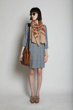 Rachel Comey Merrian Clog Heel (Brown Marble), A Peace Treaty Kalabar Printed Scarf (Rust), A.P.C. Two Pocket Leather Bag (Noisette), A.P.C. Tunic Dress (Pale Grey)