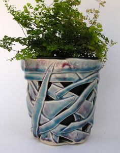Teal Orchid Pot white clay with red by WhistlingFishPottery, $35.00