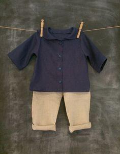 Linen Baby Outfit, Toddler Linen Suit, Linen Sailor Shirt and Harem Long Pants, Boys Ring Bearer Outfit, Infant Linen Tunic