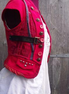 Highland Fairy customized  upcycled, recycled, steampunk, boho, one off, red WAISTCOAT on Etsy, $42.15