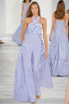 "Ralph Lauren SS16 - ""A combination of the French Riviera and Paris in springtime"" - lovely striped halterneck gown with pockets #NYFW...x"