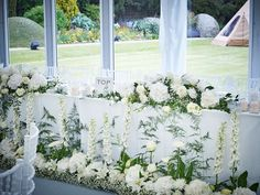 Revealed: Michelle Keegan and Mark Wright's all-white wedding flowers Top Table Flowers, Wedding Table Flowers, White Wedding Bouquets, Wedding Flower Arrangements, Wedding Decorations, Floral Arrangements, Table Arrangements, Wedding Dresses, Table Decorations