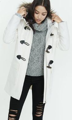 Brit Detachable Fur Trim Fitted Duffle Coat | Coats Canada and