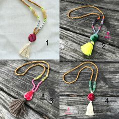 Tassel Necklace - Beaded Necklace - Long wooden beaded necklace - agate necklace - 1 piece by AllGirlsneed