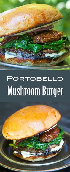 Mushroom Burger ~ A vegetarian burger made with grilled portobello mushrooms and grilled onions, spinach, and sun-dried tomatoes. Vegetarian Recipes Easy, Healthy Recipes, Vegetarian Cooking, Healthy Eats, Delicious Recipes, Easy Recipes, Salad Recipes, Dinner Recipes, Grilling Recipes