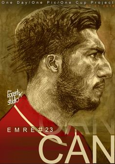 Project: 1Day,1Pic,1Club, player number 23 Emre Can , 31/01/2016.#Liverpool#The Kop Arts Studio.