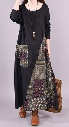 Boho style 552957660496975118 - French linen Long Shirts Metropolitan Museum Ethnic Style Print Female Ramie Black Dress Source by DressOriginal Ethnic Fashion, Hijab Fashion, Fashion Dresses, Womens Fashion, Linen Dresses, Dresses With Sleeves, Dresses Dresses, Kleidung Design, Style Ethnique