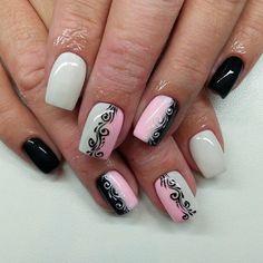 Rose Nail Art, Pink Nail Art, Nail Polish Art, Acrylic Nail Art, Classy Nails, Cute Nails, Pretty Nails, Hot Nail Designs, Classy Nail Designs