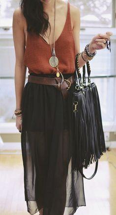 BOHO - terracotta top, sheer black skirt, fringe handbag