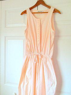 Vintage pale peach one piece Cotton Jumpsuit by houuseofwren