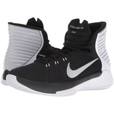 Nike Prime Hype DF 2016 (Black/White/Pure Platinum/Reflect Silver)... ($50) ❤ liked on Polyvore featuring shoes, athletic shoes, black, black basketball shoes, high top shoes, black high tops, black shoes and silver high tops