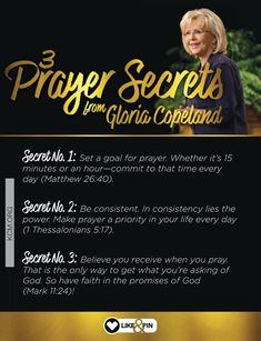 Learn more about Gloria's three prayer secrets and how you can apply them to your life here: http://blog.kcm.org/3-prayer-secrets-gloria-copeland/