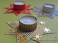 Christmas Star Tea Light Holder (for kids) Childrens Christmas Crafts, Cheap Christmas Gifts, Christmas Craft Projects, Craft Projects For Kids, Christmas Candle, Christmas Makes, Noel Christmas, Xmas Crafts, Christmas Decorations