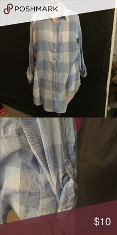 Ladies button up Ladies light weight cotton button up lie plaid blouse. Sleeves can roll up and button at side. Tag has been removed because it irritated. Tops Button Down Shirts
