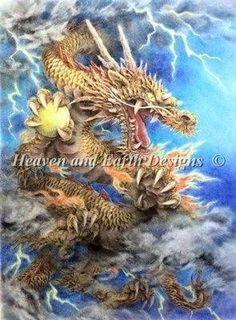 Golden Dragon cross stitch chart