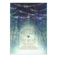 Night Lights Rustic Woodland Wedding Invitations Rustic wedding invitation with enchanted nature design: old trees forest and hanging string lights. Vintage invite for your outdoor wedding in the woods. Woodland Wedding Invitations, Summer Wedding Invitations, Vintage Wedding Invitations, Rustic Invitations, Invites, Wedding Stationery, Rustic Forest Wedding, Enchanted Forest Wedding, Wedding In The Woods