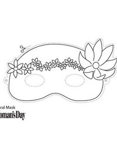Halloween Crafts- Floral Face Mask to Color at WomansDay.com - Woman's Day
